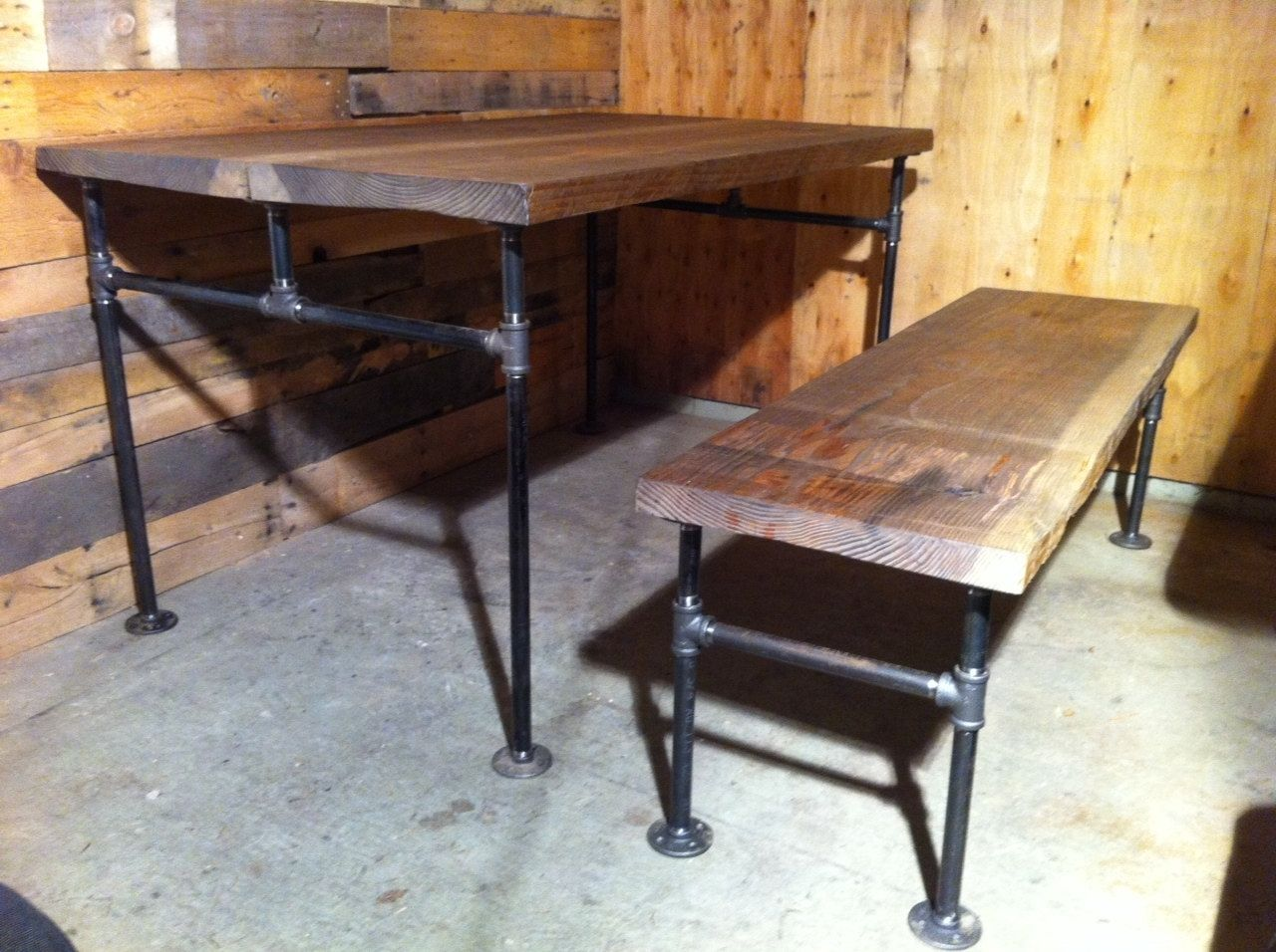 Custom Made Industrial Cast Iron Pipe Douglas Fir Dining Table By J S Reclaimed Wood Custom