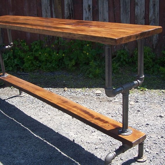 Buy A Hand Made Industrial Styled Bar Height Table With A