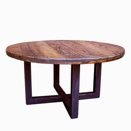 Buy A Custom Made Reclaimed Wood Wormy Chestnut Round Coffee Table With Industrial Metal Base