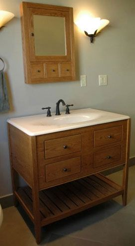 Handmade White Oak Stained Bathroom Vanity Open Style By