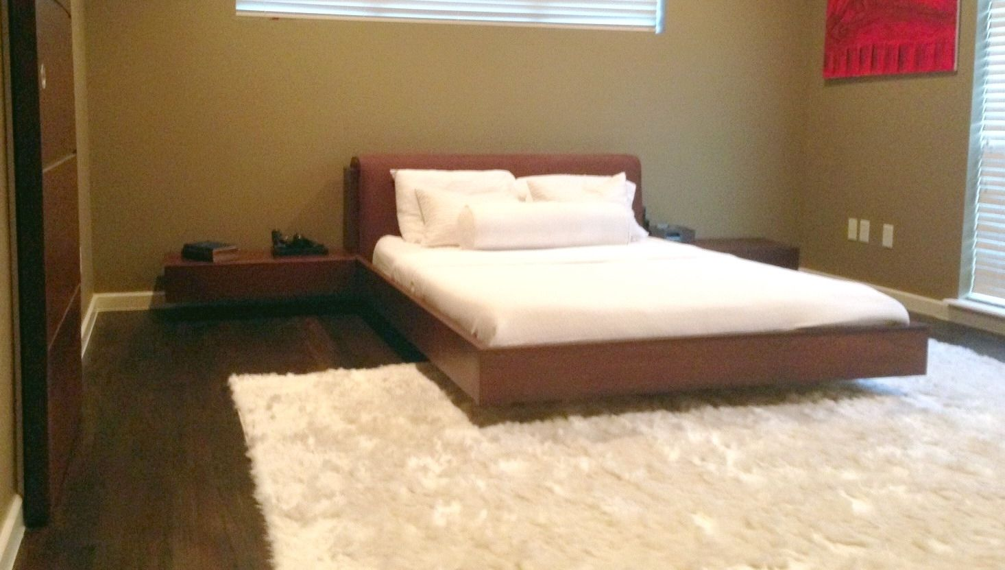 Custom floating queen size platform bed by north texas for Floating platform bed with storage