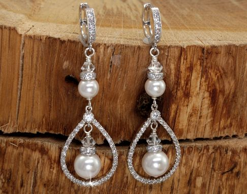 Custom Made Ivory Pearl Drop Earrings - Bridal Wedding Teardrop Earrings - Swarovski Crystal And Pearl