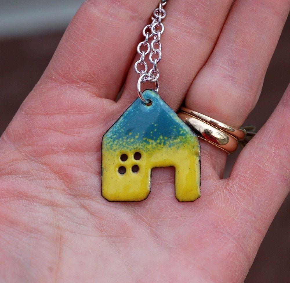 Hand Crafted Enamel House Necklace Pendant Copper Home
