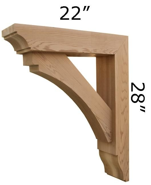 Custom made wooden bracket by pro wood market for Cedar gable brackets