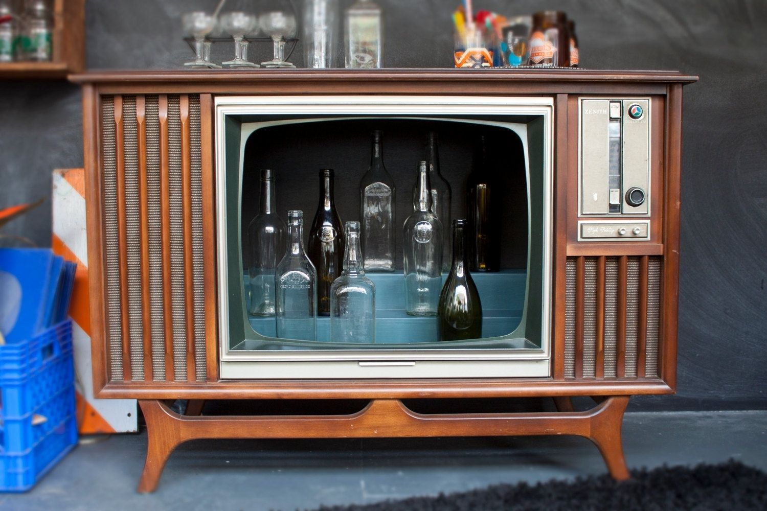 Old Console Tv ~ Hand made vintage tv television cocktail bar cabinet by