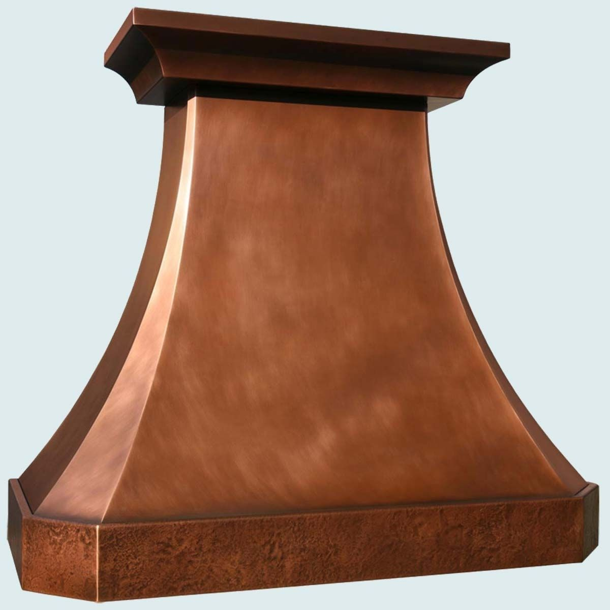 Handmade Copper Range Hood With Hammered Band By