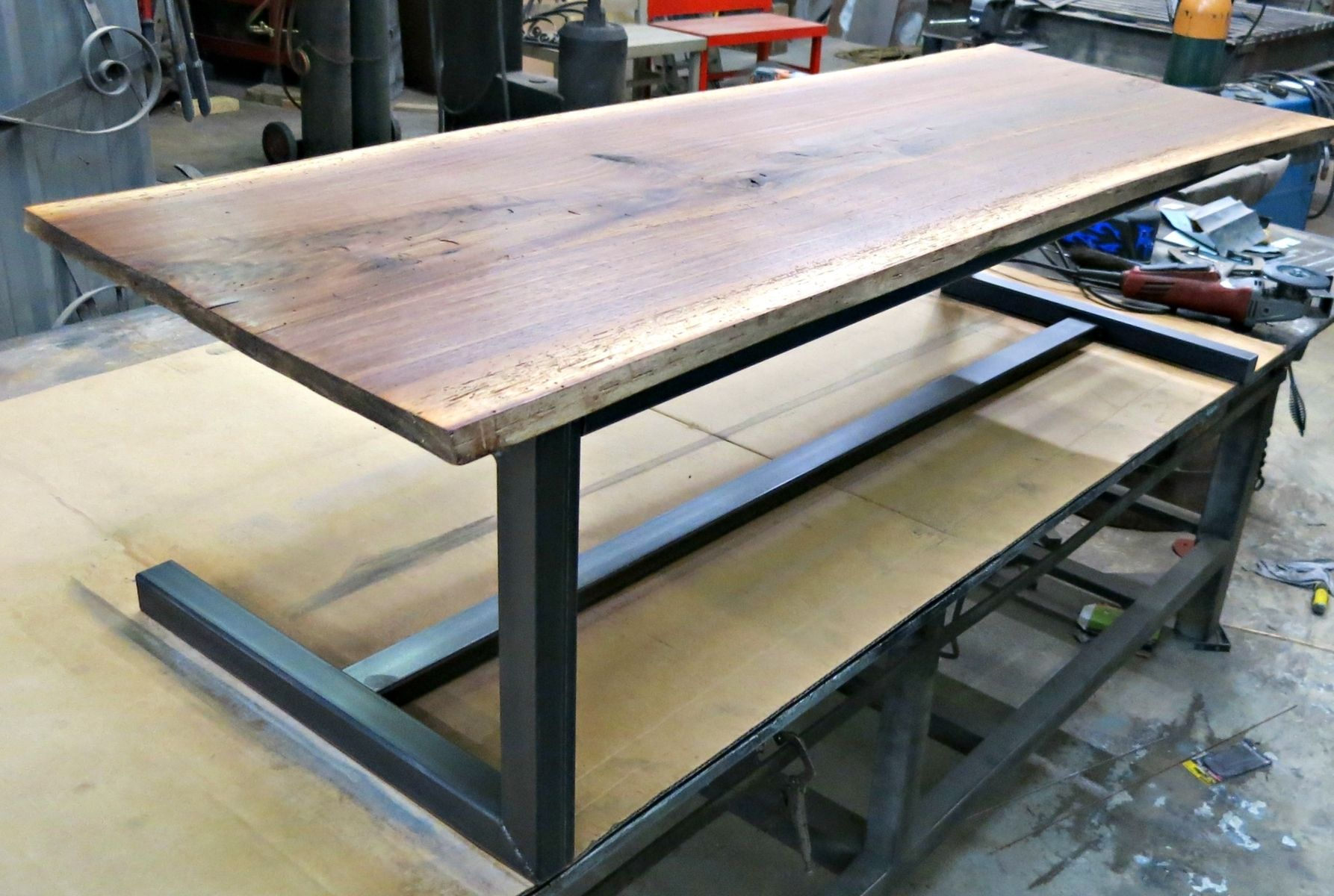 Hand Made Walnut And Steel Contemporary Coffee Table By