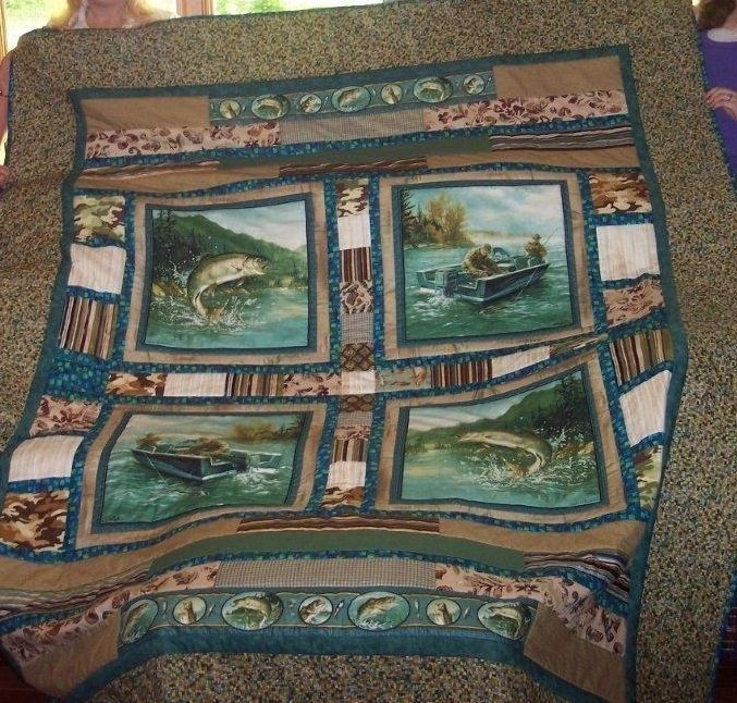 Hand Crafted Fishing Themed Custom Quilt With Strips And