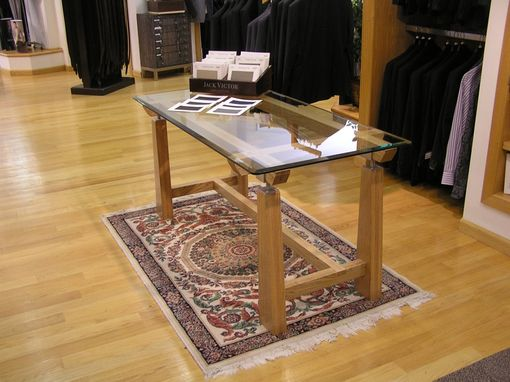 Custom Made Contemporary Wood Table With Glass Top