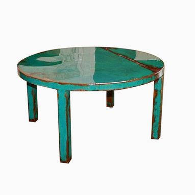 Hand Made Custom Round Metal Coffee Table Art With Beautiful Turquoise And Jade Green Paint