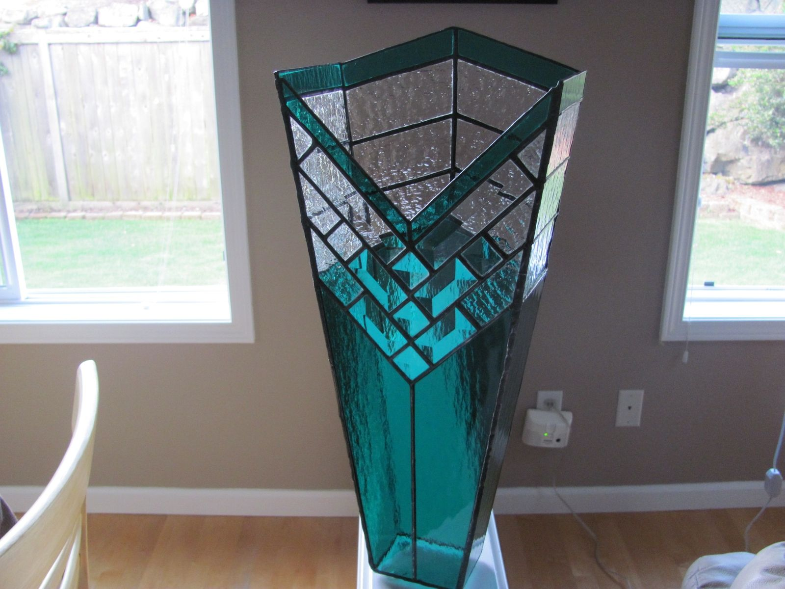Hand Crafted Stained Glass Decorative Vase By Chapman