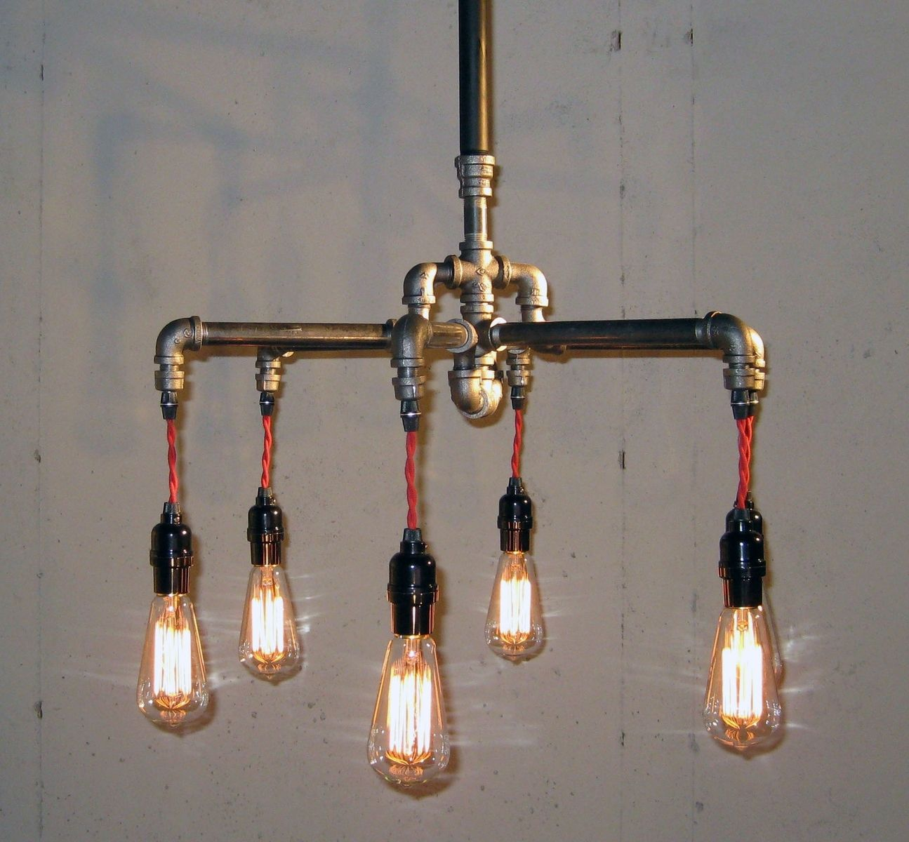 Hand crafted industrial black malleable iron 6 bulb for Black iron pipe lights