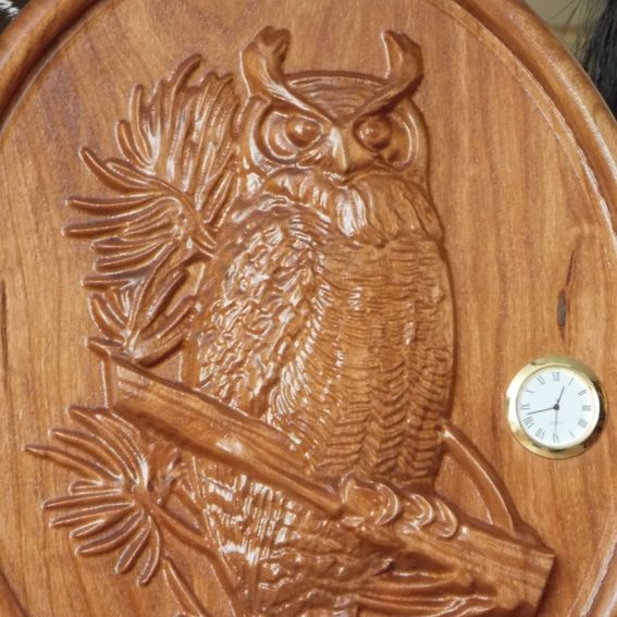 Custom wood clock owl cherry rustic relief