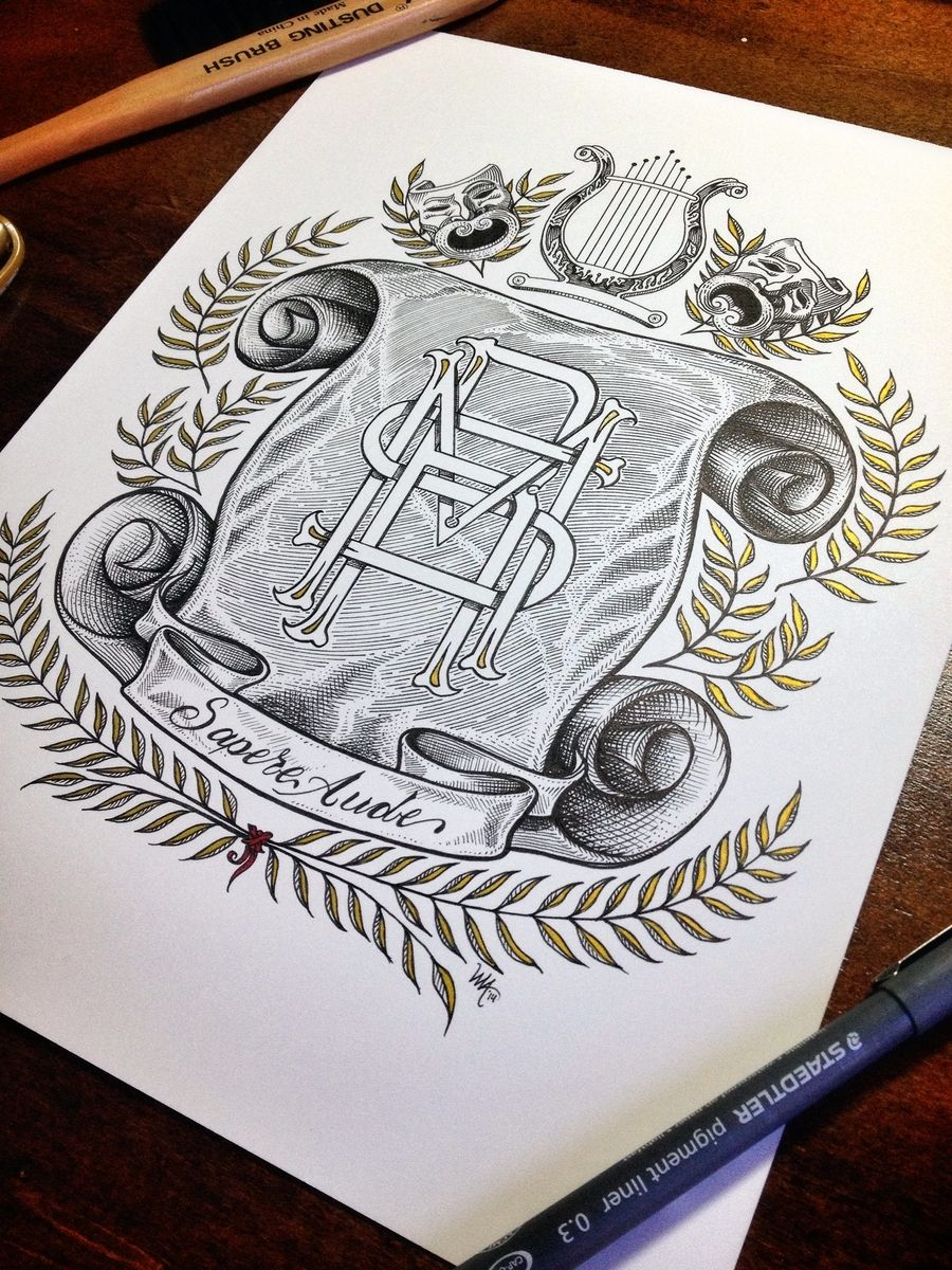 hand made elaborate hand drawn monograms and family crests by threemantiger arts