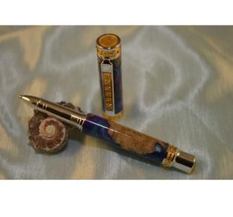"Custom Made ""Earth From Space"" Jr. Emperor Rollerball Pen In 22kt Gold And Rhodium"