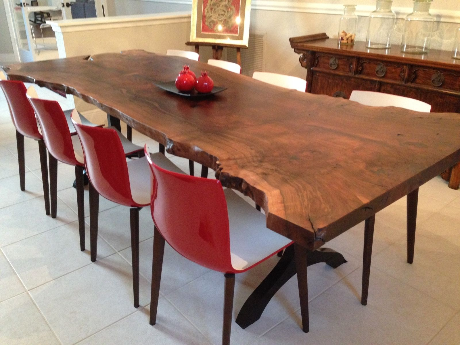 Handmade walnut live edge slab dining table by zac divine for Dining room tables handmade