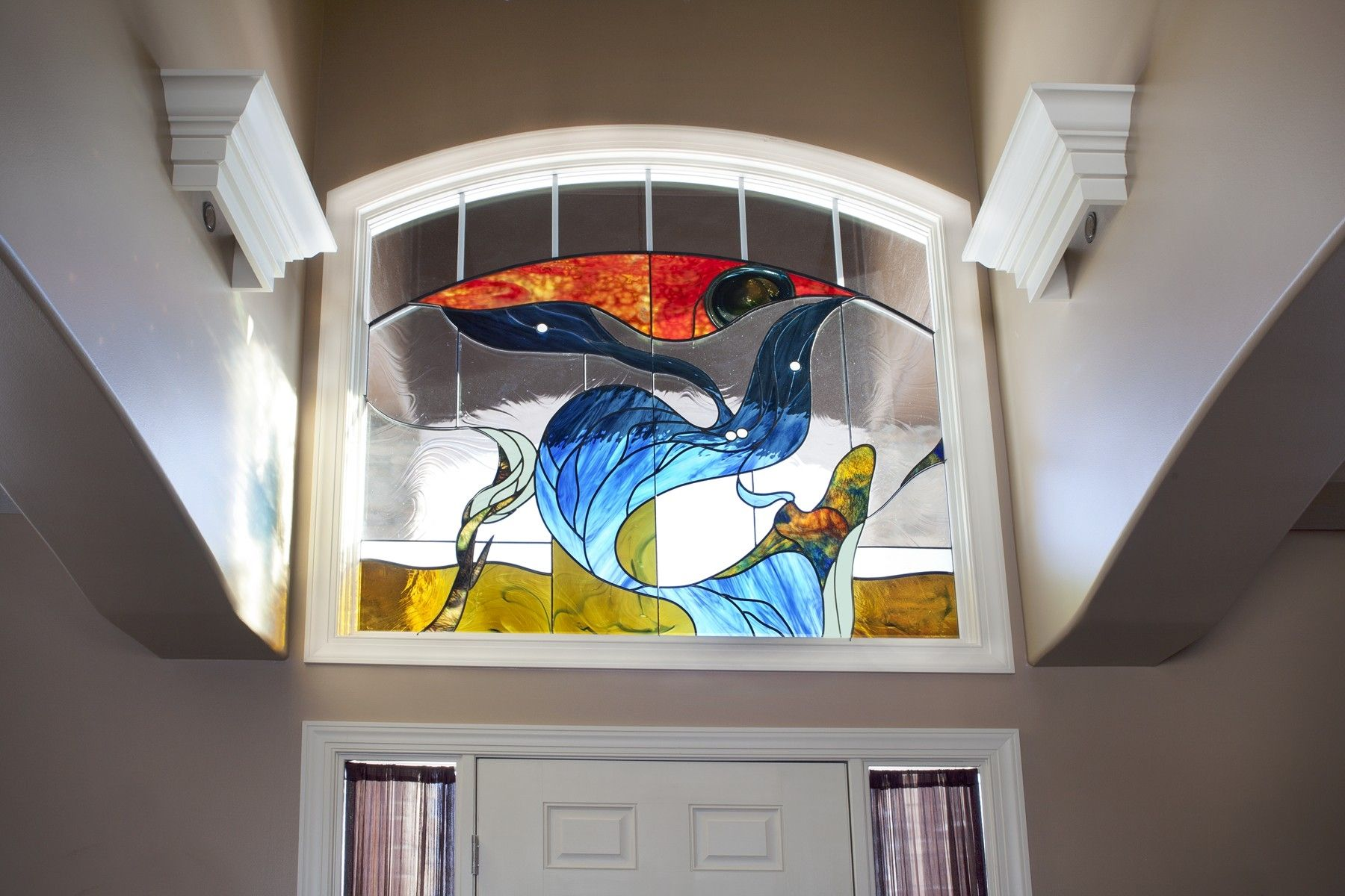 Hand made stained glass arched transom memorial window by for Custom transom windows