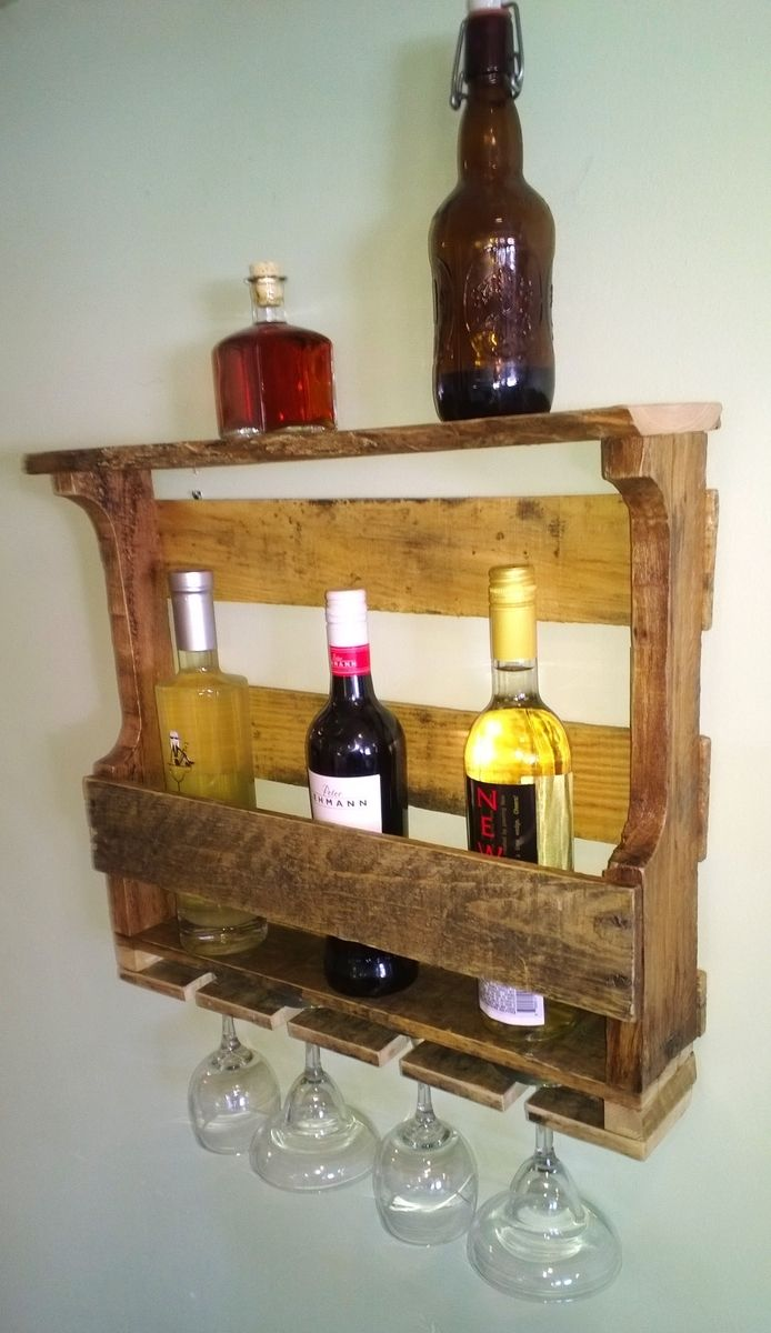 Hand Made Rustic Reclaimed Recycled Pallet Wine Rack By