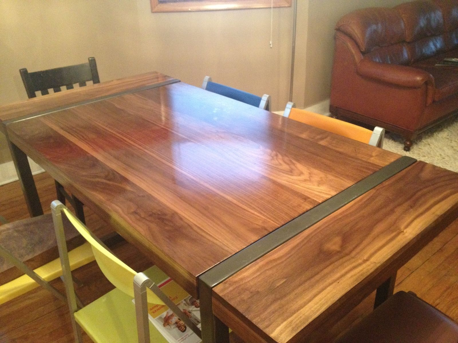 Dining Room Table Plans With Leaves Hand Made Black Walnut Dining Table With Welded Steel Base