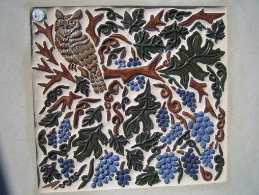 Custom Made Stoneware Mural: Owl And Vinyard