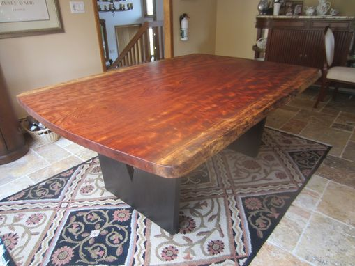 Custom Made Live Edge Bubinga Slab Kitchen Table