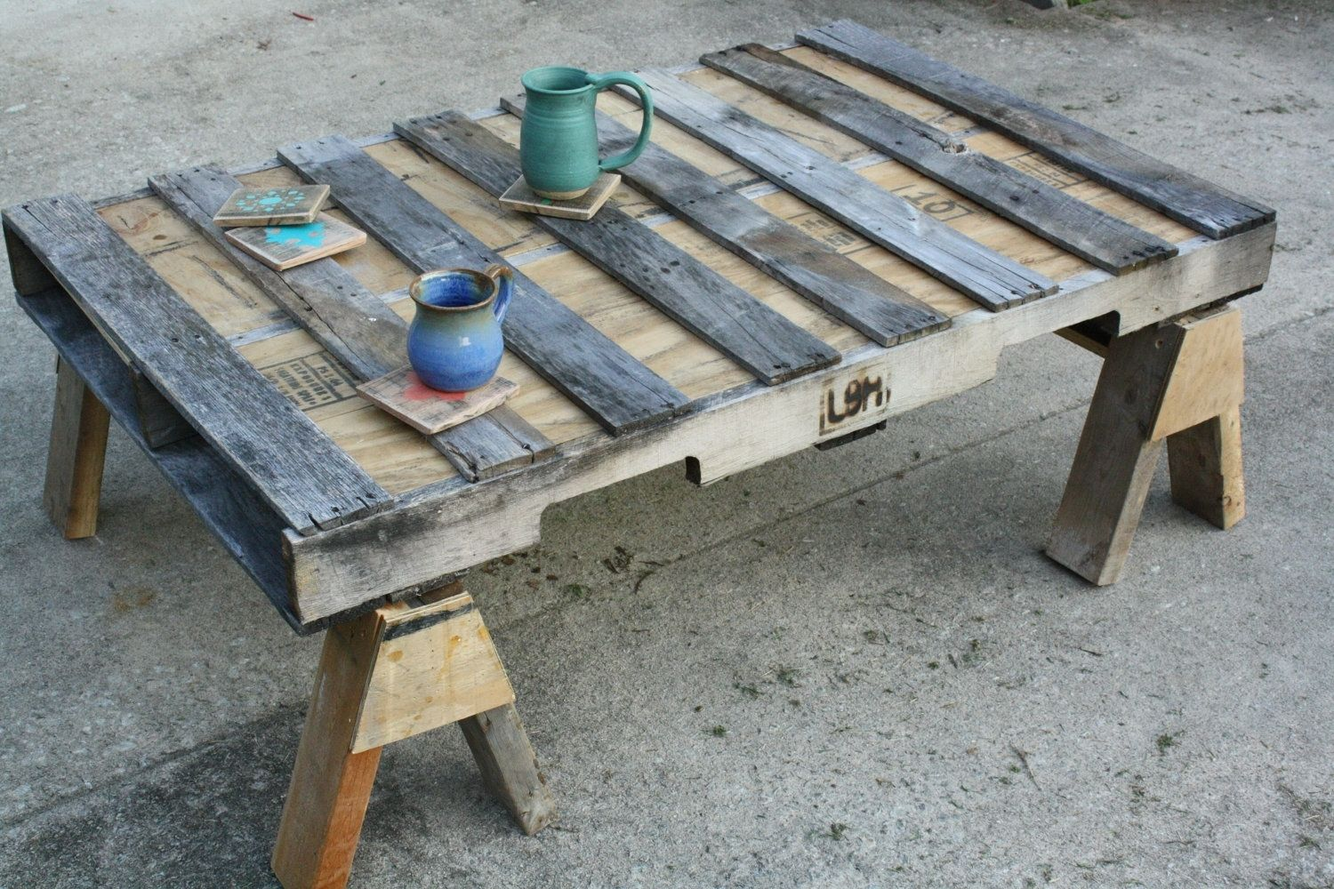 custom repurposed wood coffee table saw horses by little blue house