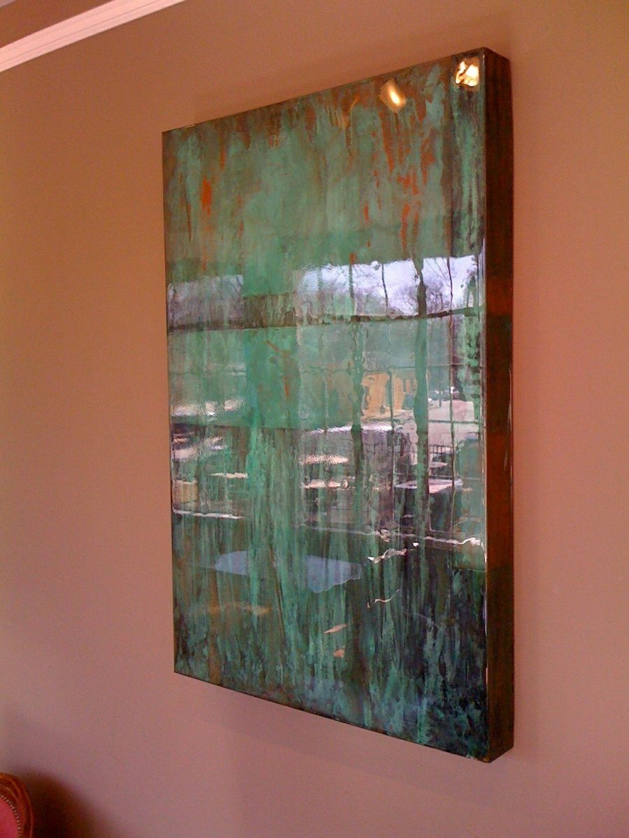 custom made copper art wall piece with super wet reflection clear coat  by dangerous color