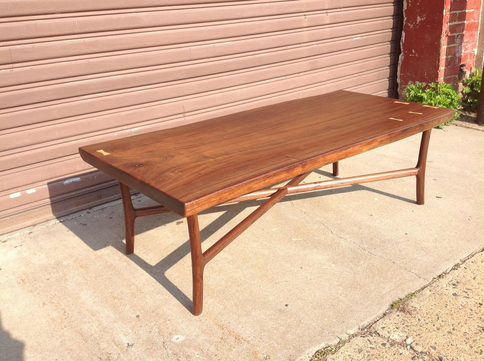 Custom Made Black Walnut Slab Coffee Table By Martell Woodworks