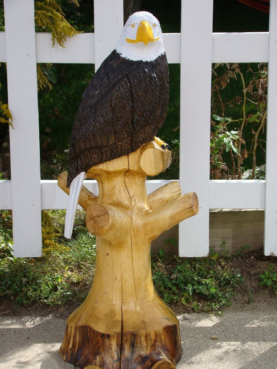 Hand Crafted Chainsaw Carved Eagle By Everwood Log To Home