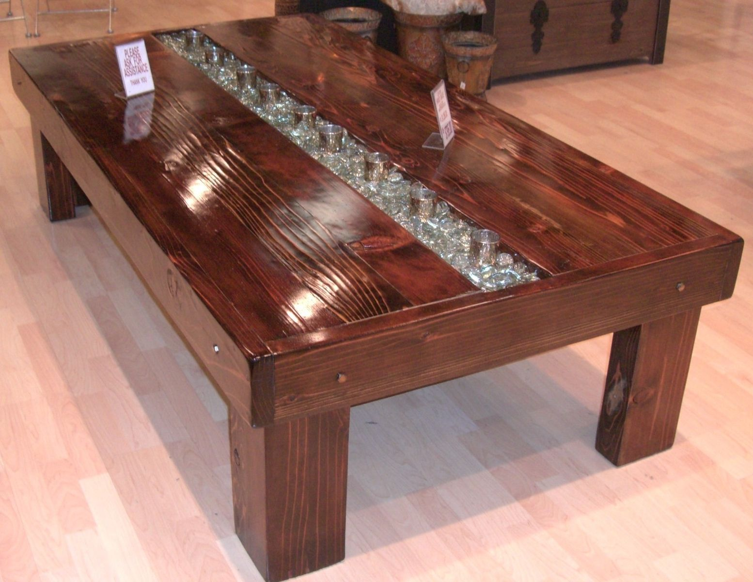 Handmade Custom Redwood Votive Coffee Table By Gk Woodworks