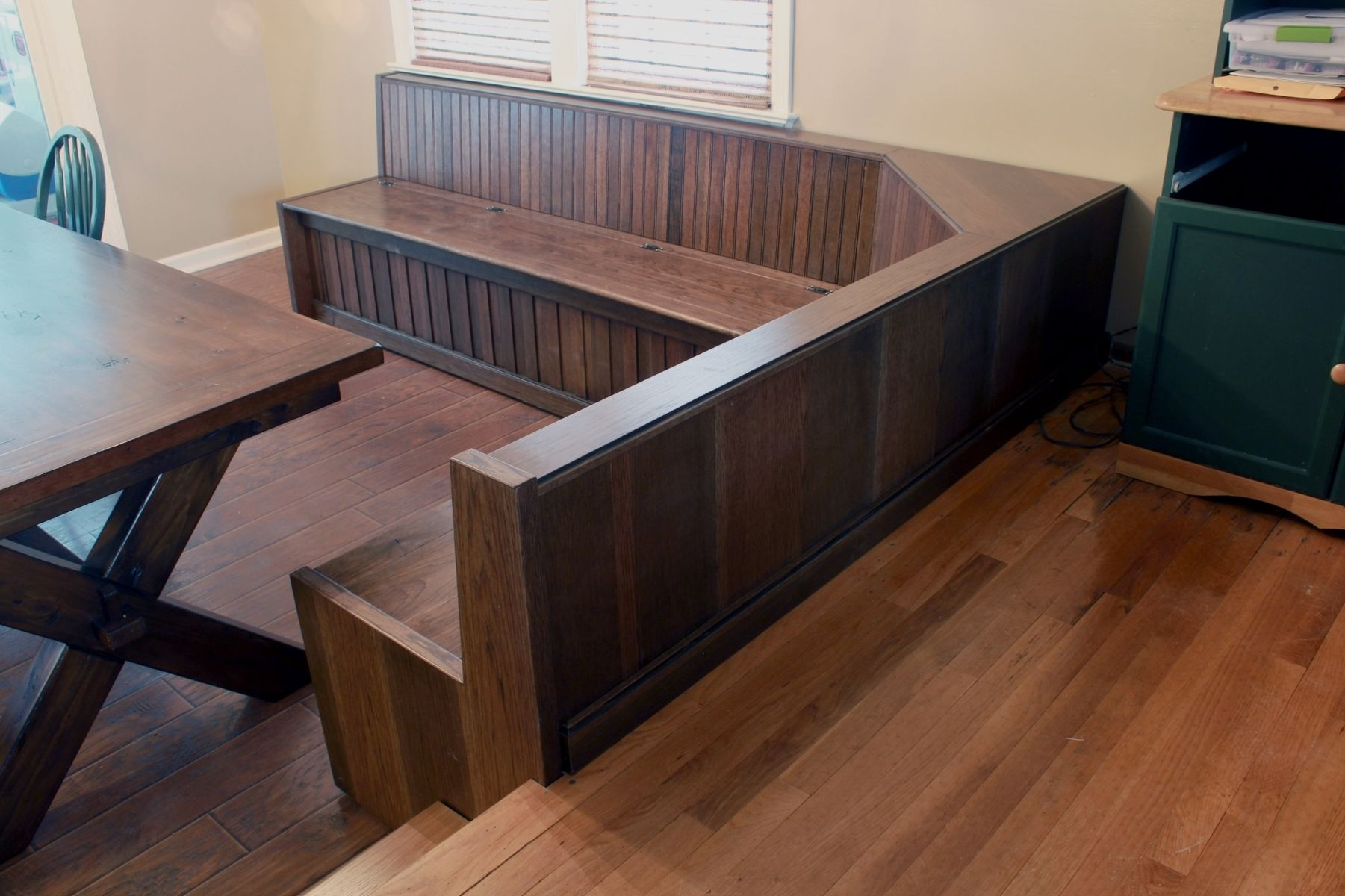Hand crafted custom built in dining room bench seating by for Built in kitchen seating ideas