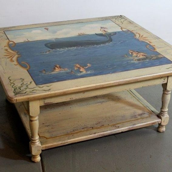 Hand made custom mermaid sea coffee table by ecustomfinishes reclaimed wood furniture Mermaid coffee table