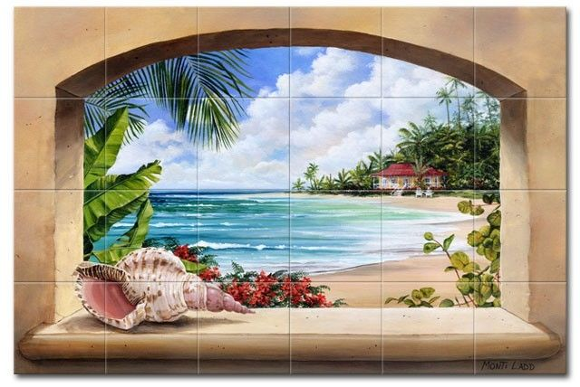 Custom made island getaway tile mural by murals by monti for Custom photo tile mural