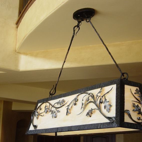Hand Made Forged Pool Table Light By Reflections From The