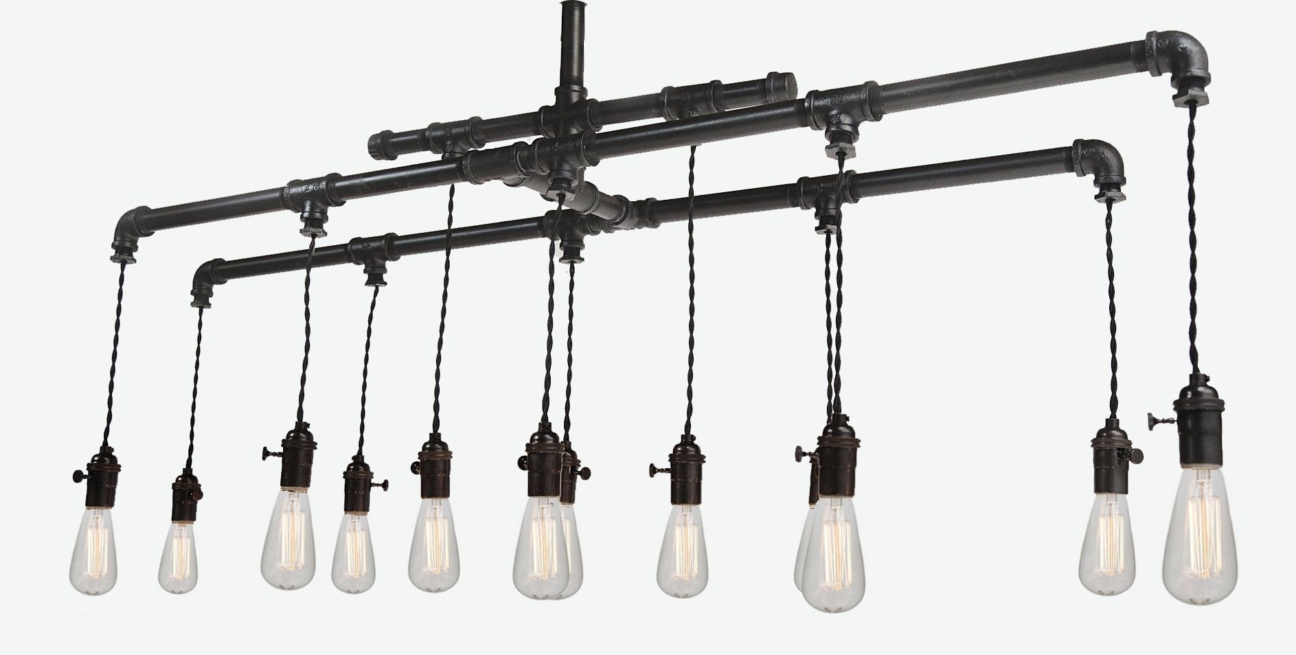 custom industrial pipe edison chandelier with 12 bulbs by hammers and heels