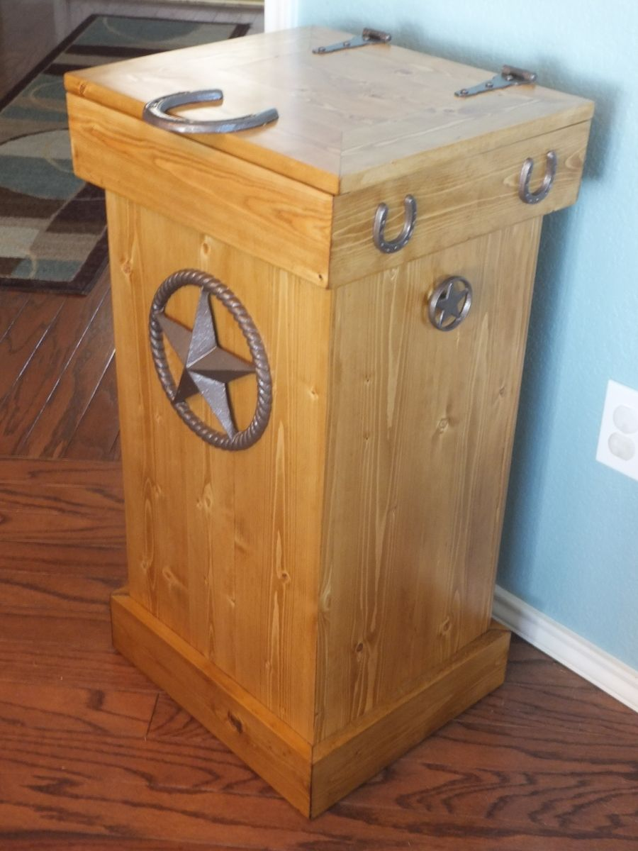 Buy a hand crafted rustic wood trash can made to order from thh creations - Wooden kitchen trash can with lid ...