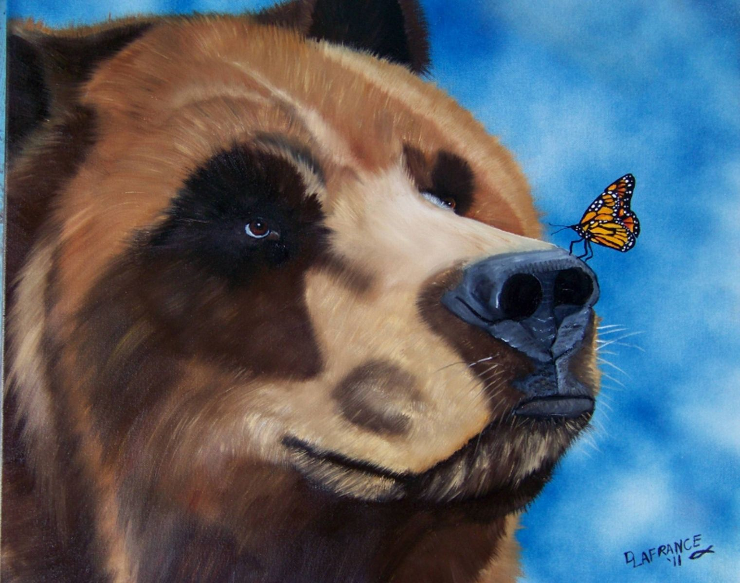 Hand Made Butterfly Kisses Grizzly Bear Oil Painting By LaFrance Art