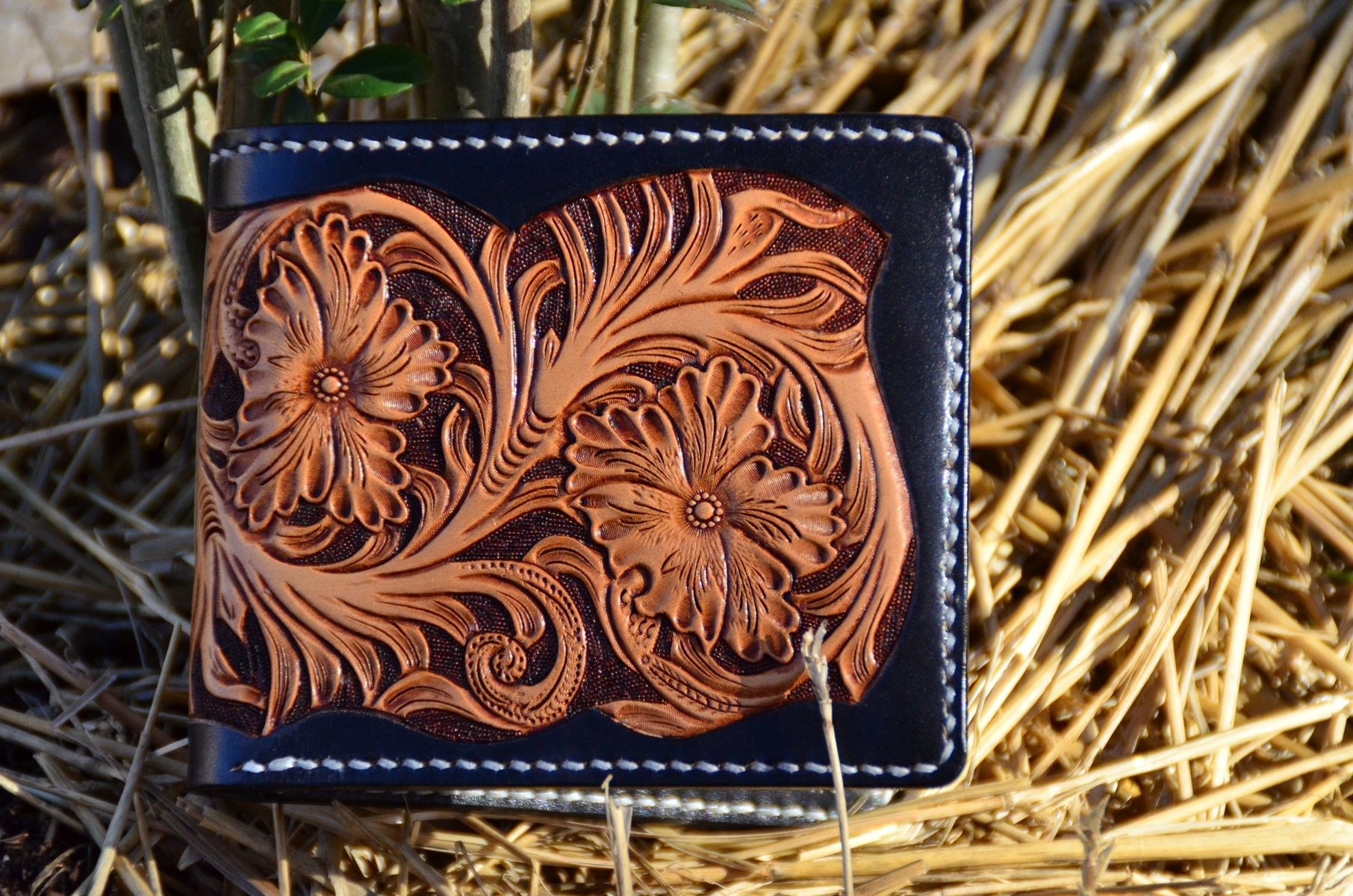 Hand Crafted Carved Leather Wallet By Rzleathercraft