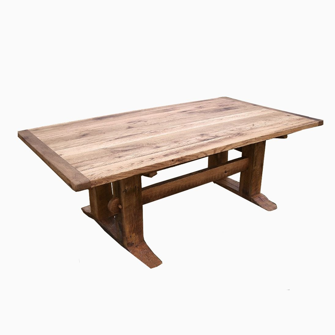 Buy a hand crafted antique oak mission style trestle table for Mission style dining table
