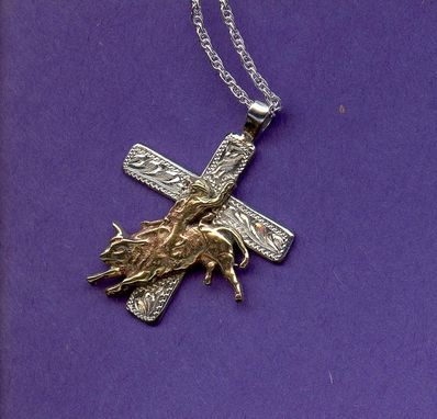 Custom Made Bullrider Cross Pendant