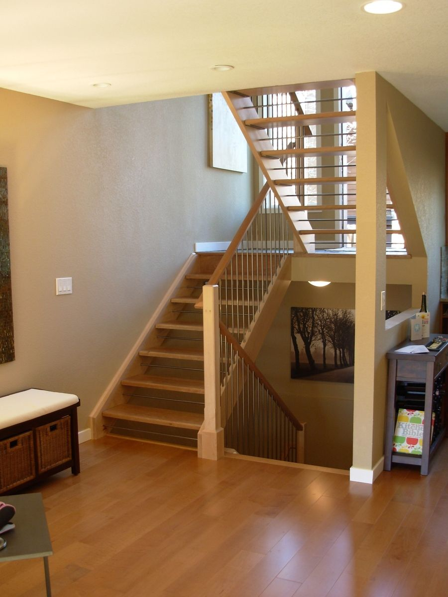 Custom made open staircase by dancing grains woodworks for Open staircase designs
