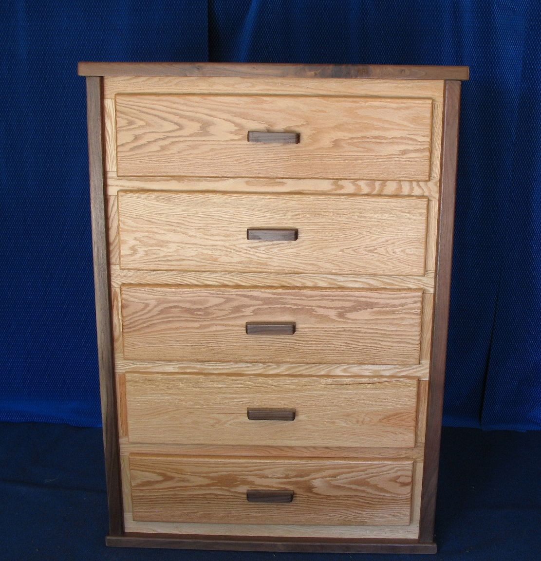Custom red oak with walnut trim chest of drawers by fbt
