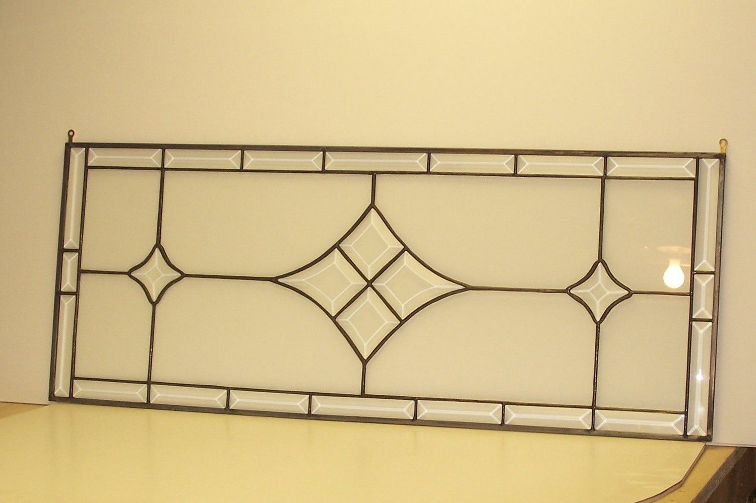 Hand made stained glass window bevel transom tw 6 by for Custom transom