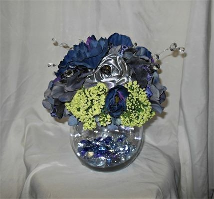 Custom Made Navy Blue Silver And Green Centerpiece By