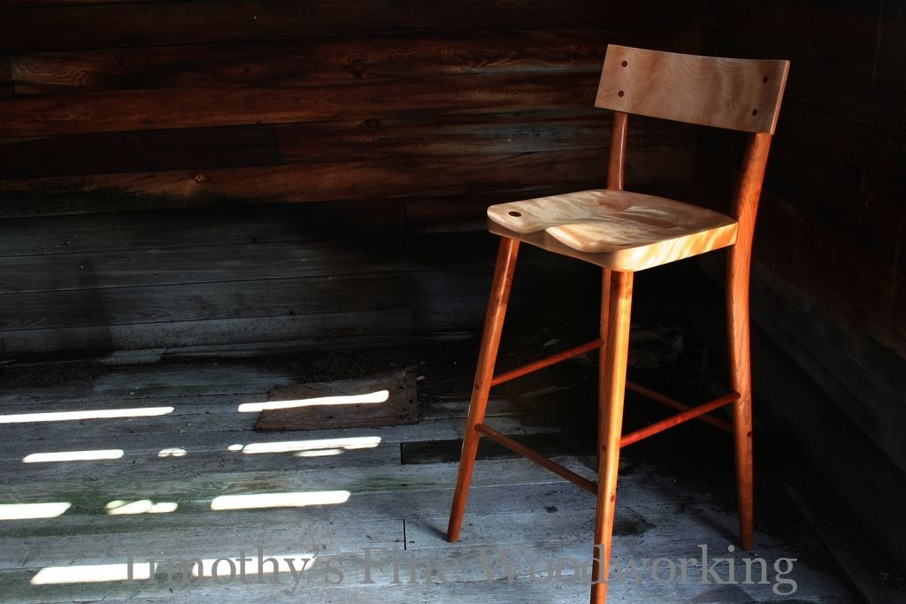 Handmade Stool With Hand Carved Fitted Seat By Timothy S