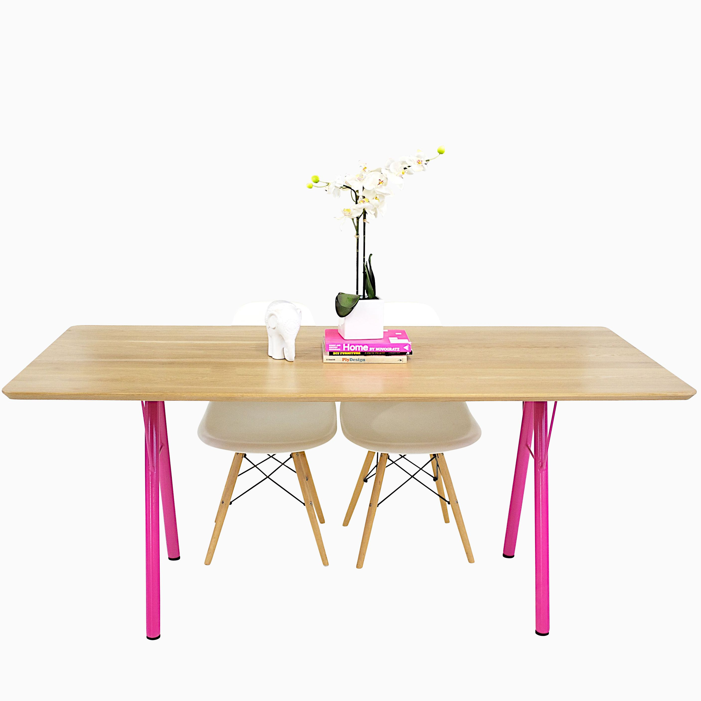 Teak Wood Dining Table White Powder Coated Legs White: Buy A Hand Made Mid Century Modern White Oak Table With
