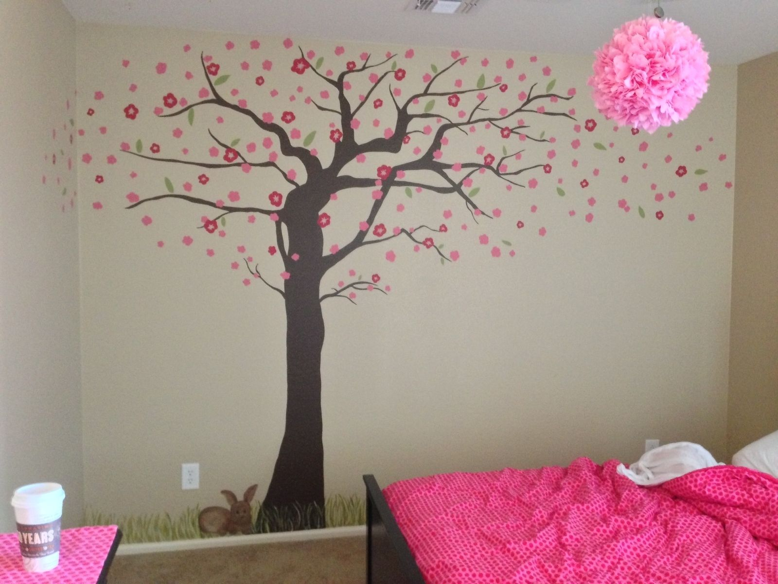 Custom made cherry blossom tree mural by kid murals by for Cherry blossom tree wall mural