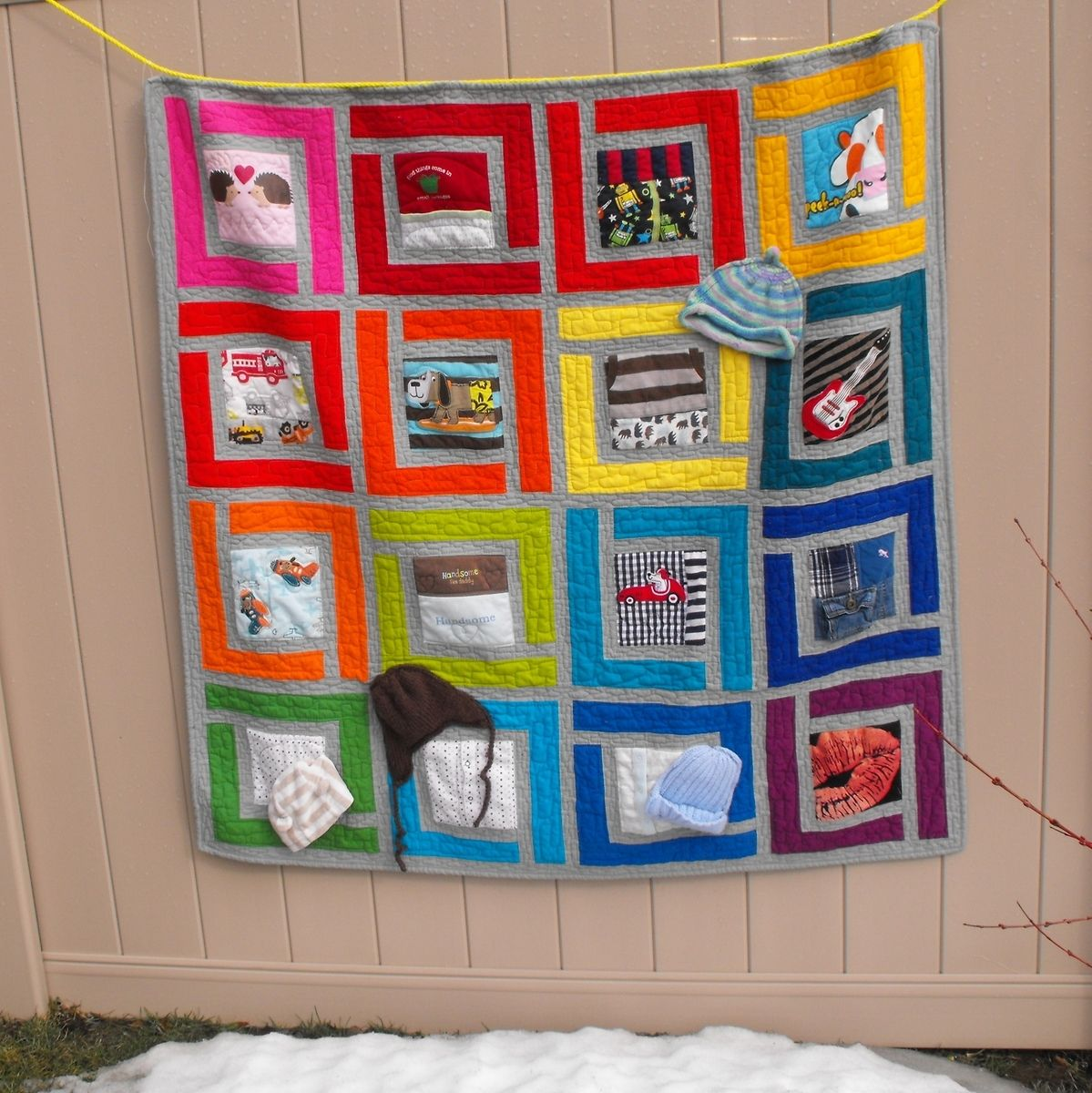 Hand Crafted Baby Clothes T Shirt Memory Quilt Large
