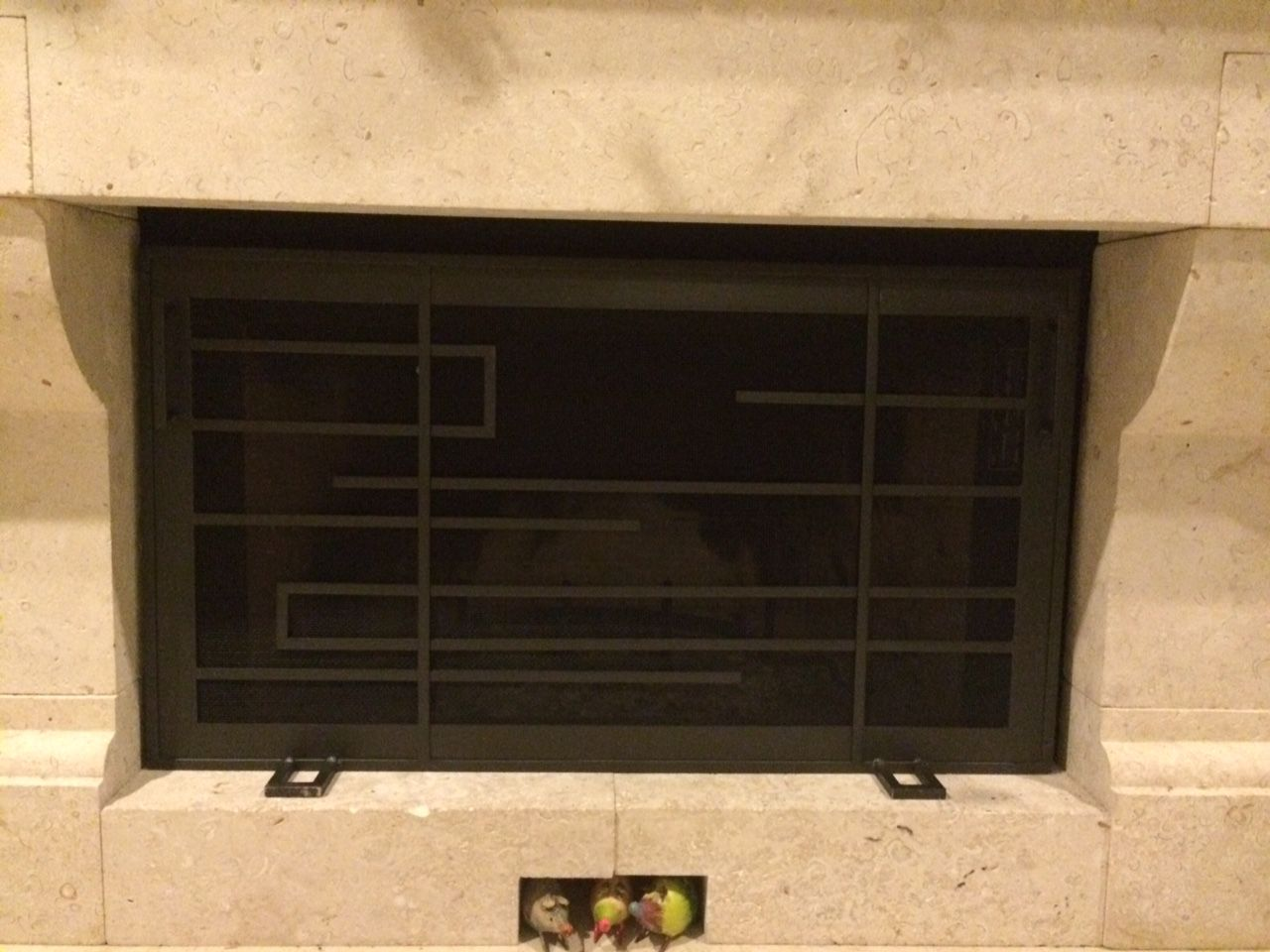Custom Frank Lloyd Wright Style Fireplace Screen By Iron Mountain Forge Furniture
