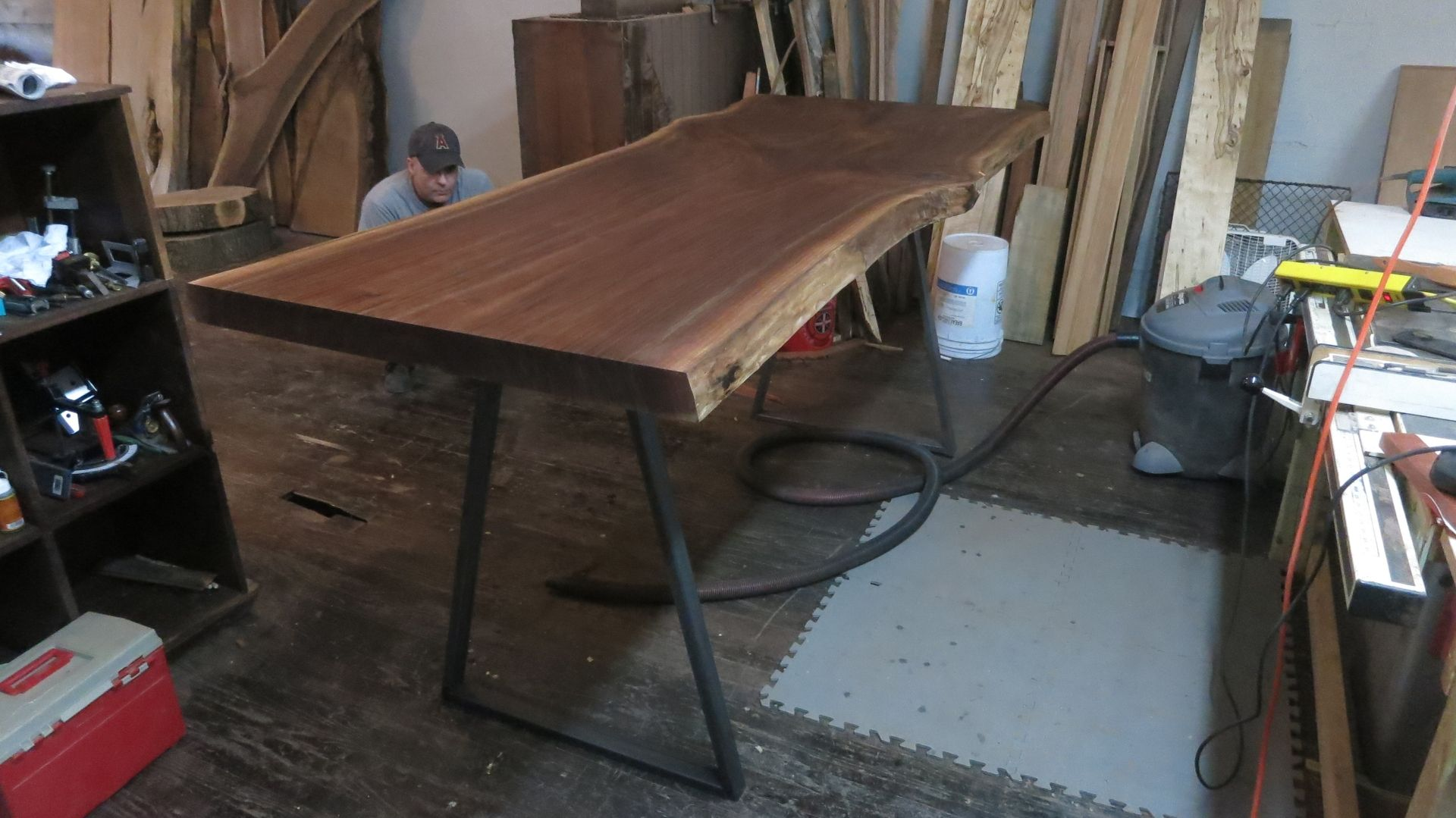 Custom Made Live Edge Walnut Table With Metal Legs By